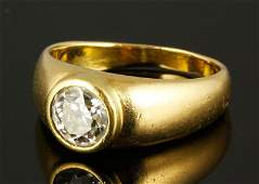 Mens 18K Gold and Diamond Ring