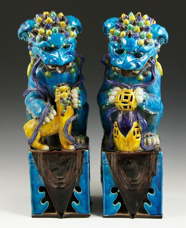 Chinese 19th C. Pair of Turquoise Foo Lions