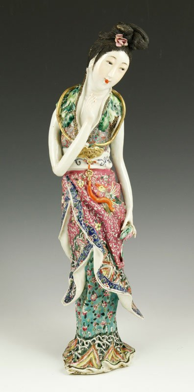 Chinese 19th C. Famille Rose Porcelain Figure