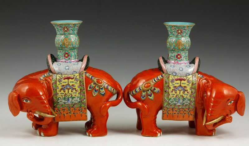 Chinese 19th C. Pair of Elephant Vases