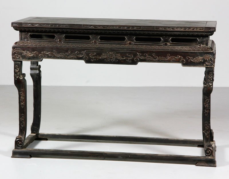 Chinese Rare 18th C. Carved Zitan Imperial Table