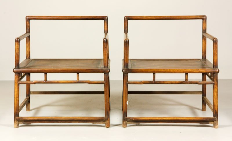 Chinese 17th/18th C. Pair of Huanghuali Wood Armchairs