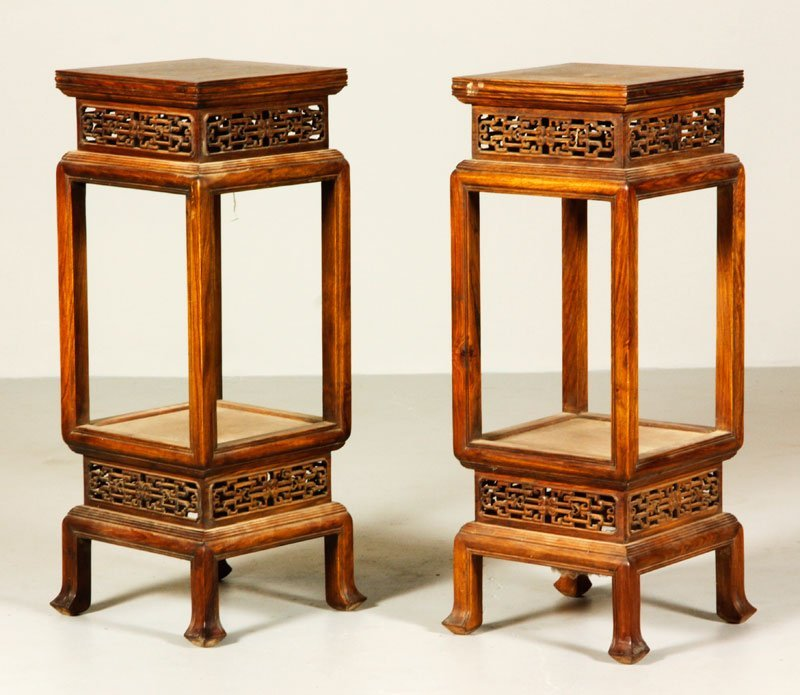 Chinese Pair of Huanghuali Stands