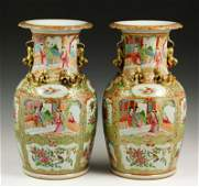 Chinese 19th C. Pair of Rose Medallion Vases
