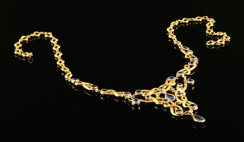 14K Gold and Sapphire Necklace