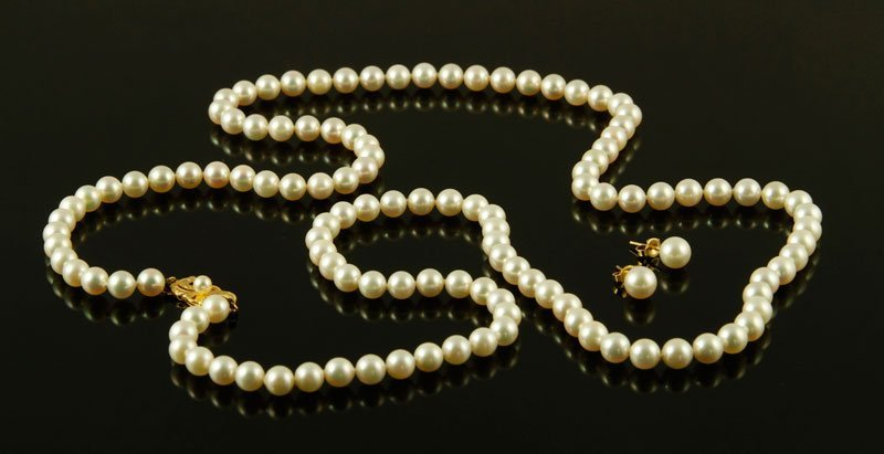 Mikimoto Pearl Necklace and Earrings