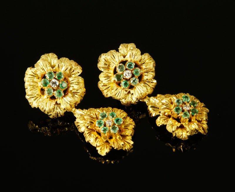Pair 18K Gold, Diamond, and Emerald Earrings
