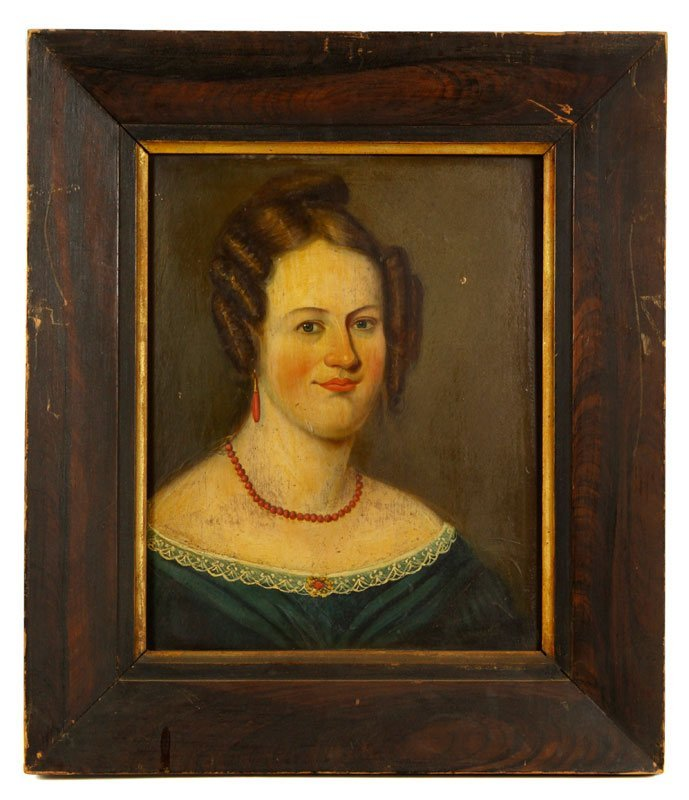 19th C. Folk Art Portrait, O/P
