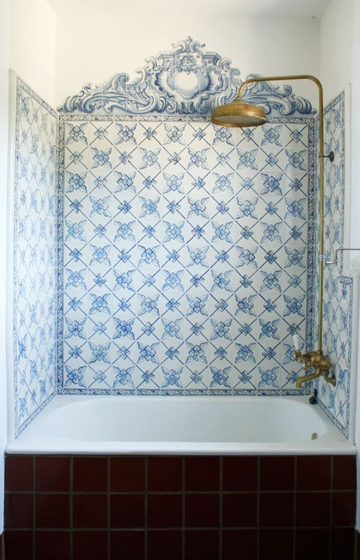 Blue and White Bathroom Tile Shower