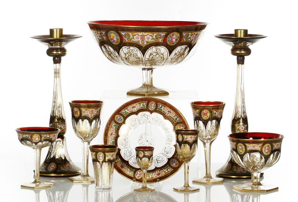Bohemian Enamel-Decorated Glass Service