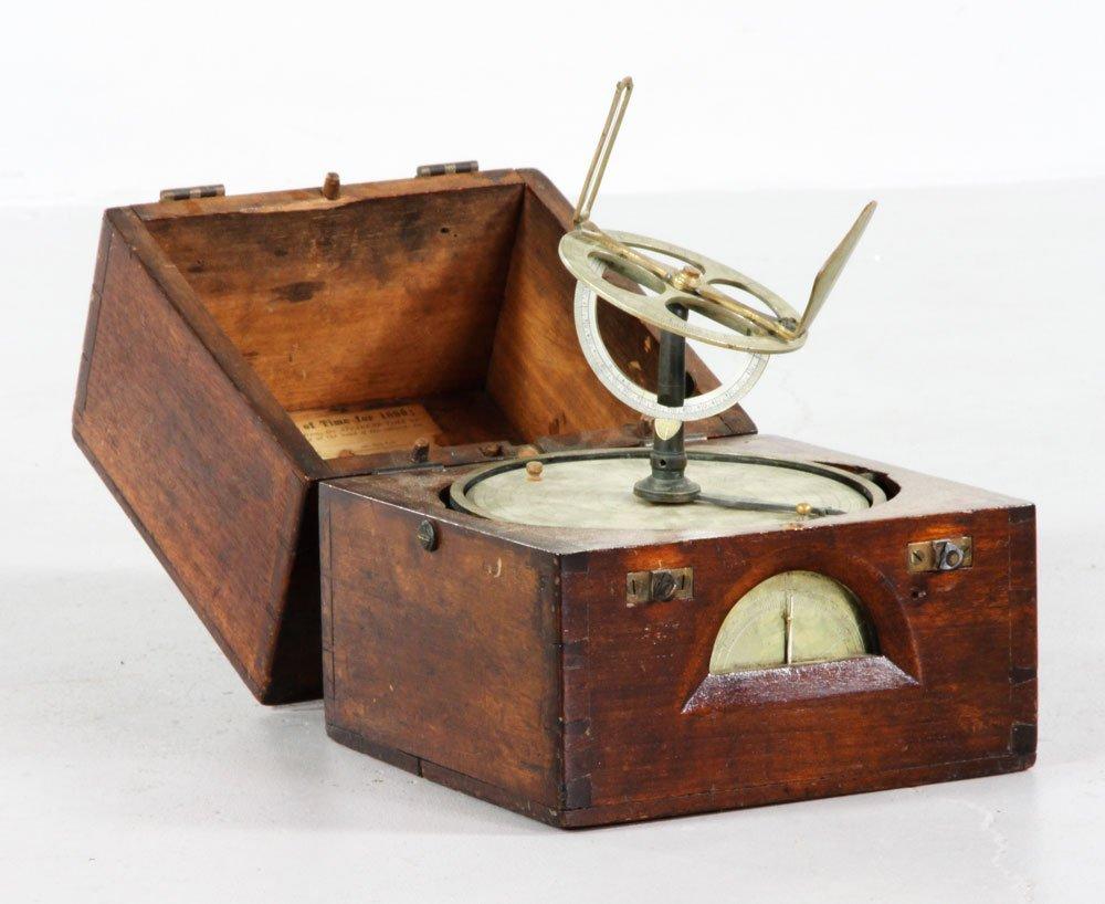 19th C. Brass Astrolabe in Mahogany Case