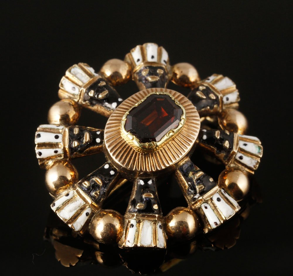 Georgian 14K Gold, Garnet and Enamel Brooch
