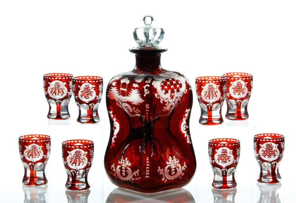 Bohemian Decanter and 8 Cordial Glasses