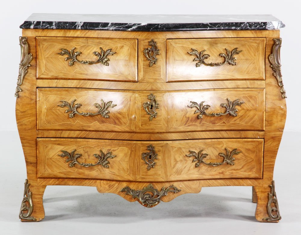 French Style Marble Top Bombe Chest