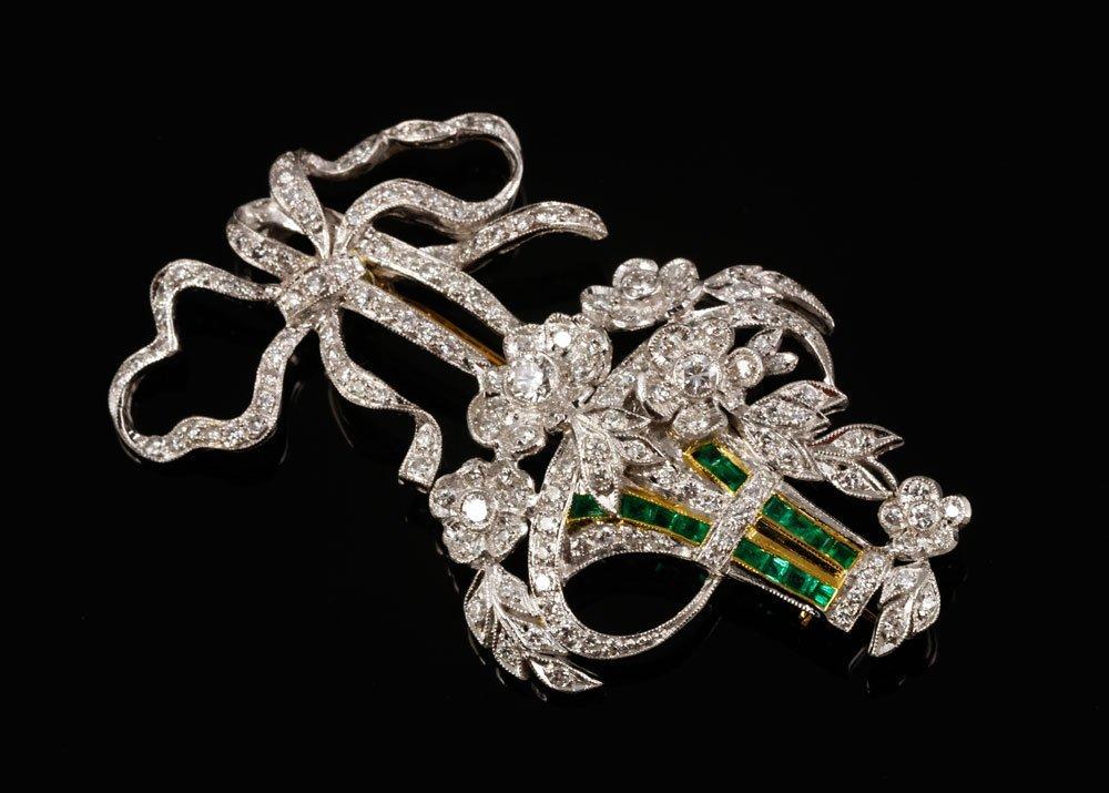 18K Gold, Diamond and Emerald Brooch/Pendant