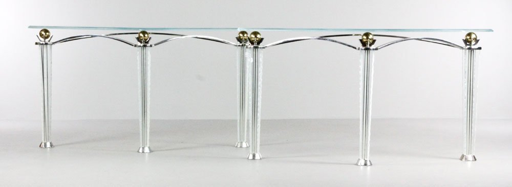 Pair of Designer Chrome and Glass Side Tables