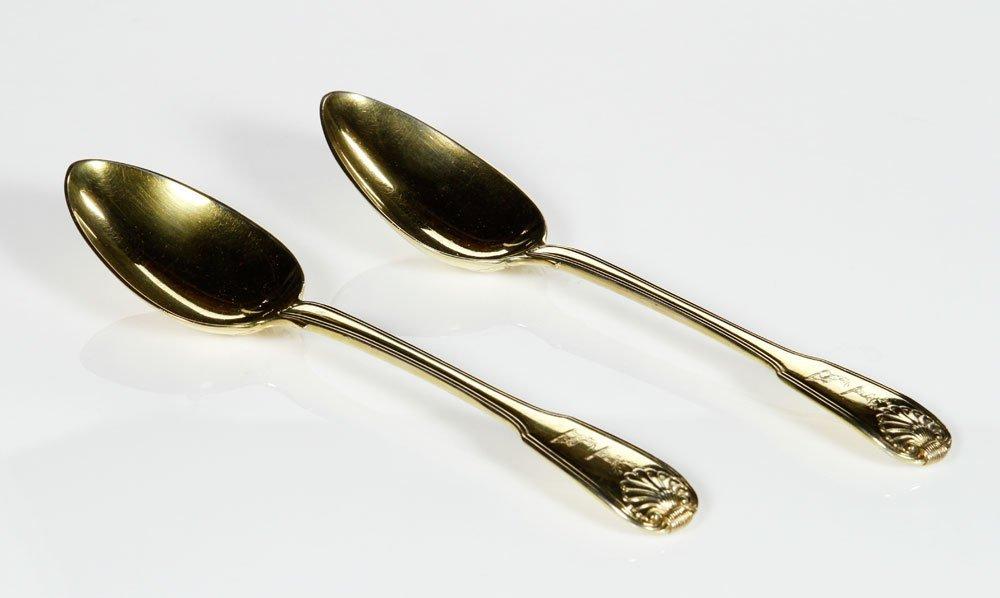 Pair Antique Silver Gilt Spoons