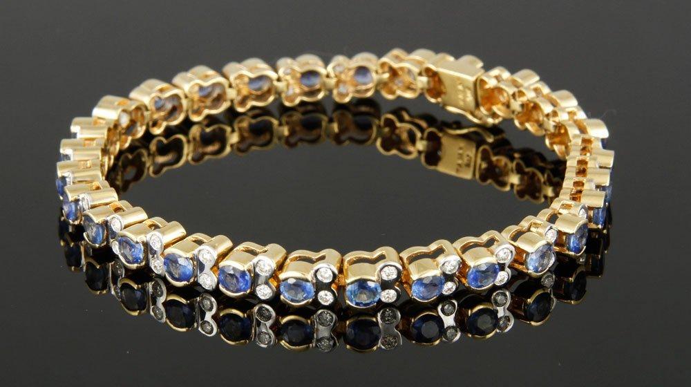 14K Gold, Sapphire and Diamond Bracelet