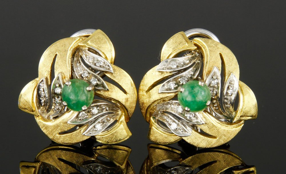 Pr. 18K Gold, Diamond and Emerald Clip Earrings