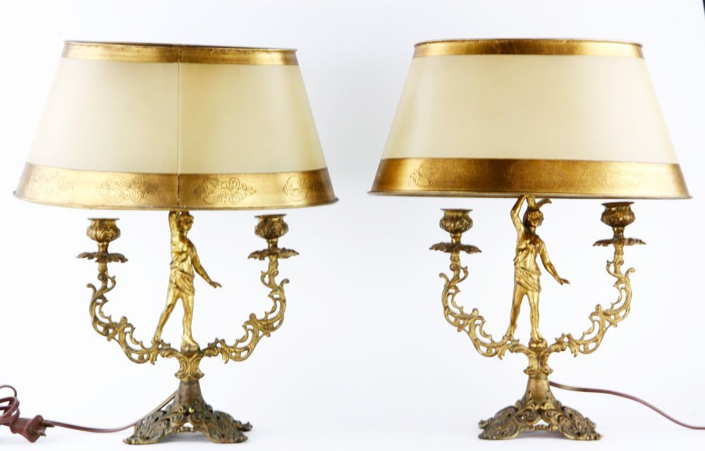 19th C. Pair of French Figural Lamps