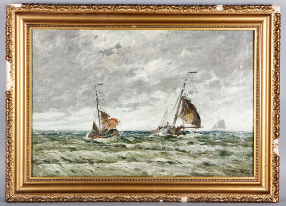 Gruppe, Boats on a Stormy Sea, O/C