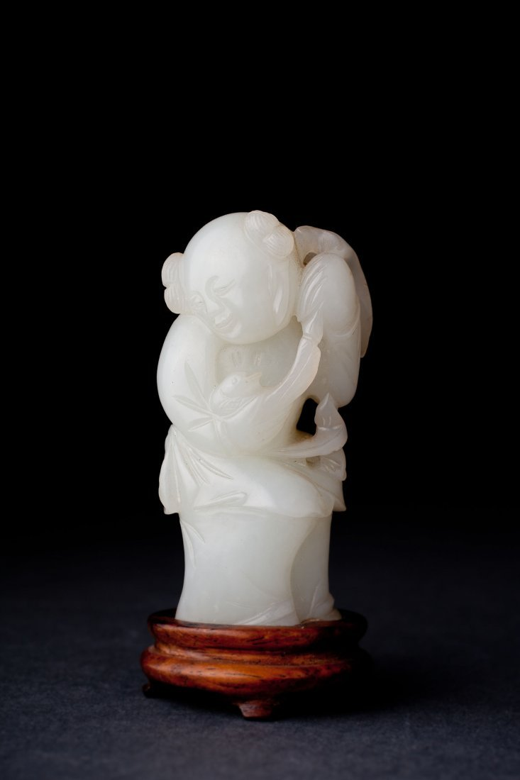 Antique Chinese White Jade Figure. Qianlong (1735-1795)