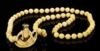 Japanese 19th C. Carved Ivory Necklace and Netsuke