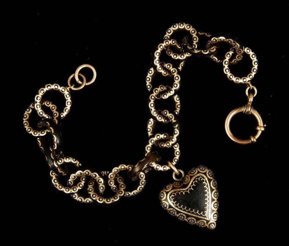 19th C. 12K Gold and Tortoise Bracelet