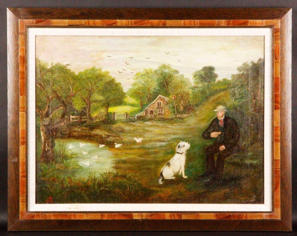 Early 20th C. Folk Art Painting, O/C