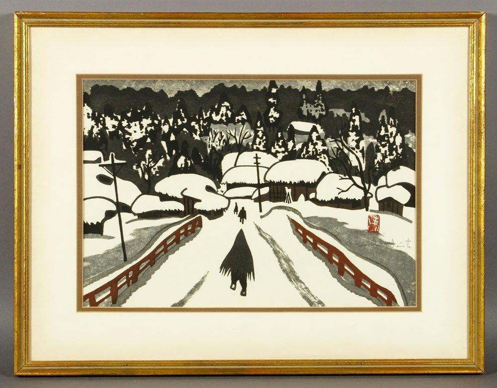 Saito, Winter Scene, Woodblock Print