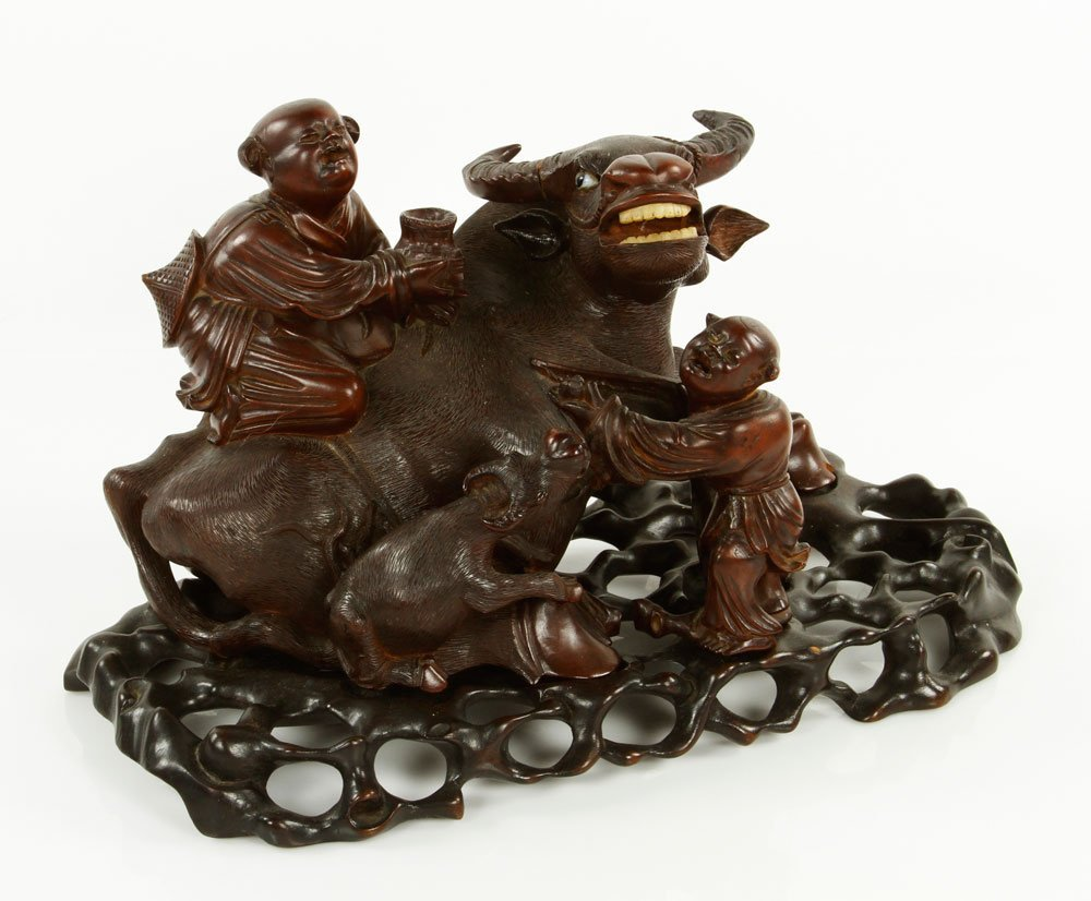 Chinese Carved Water Buffalo with Boys Figure