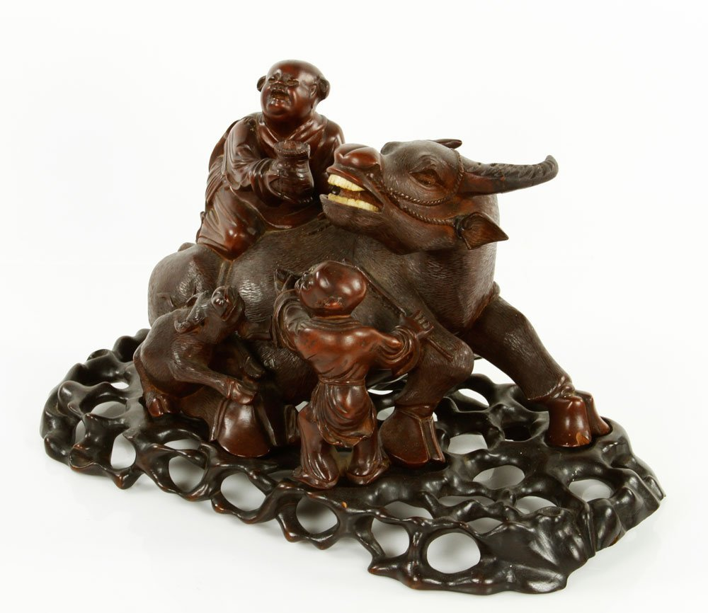 Chinese Carved Water Buffalo with Boys Figure - 2