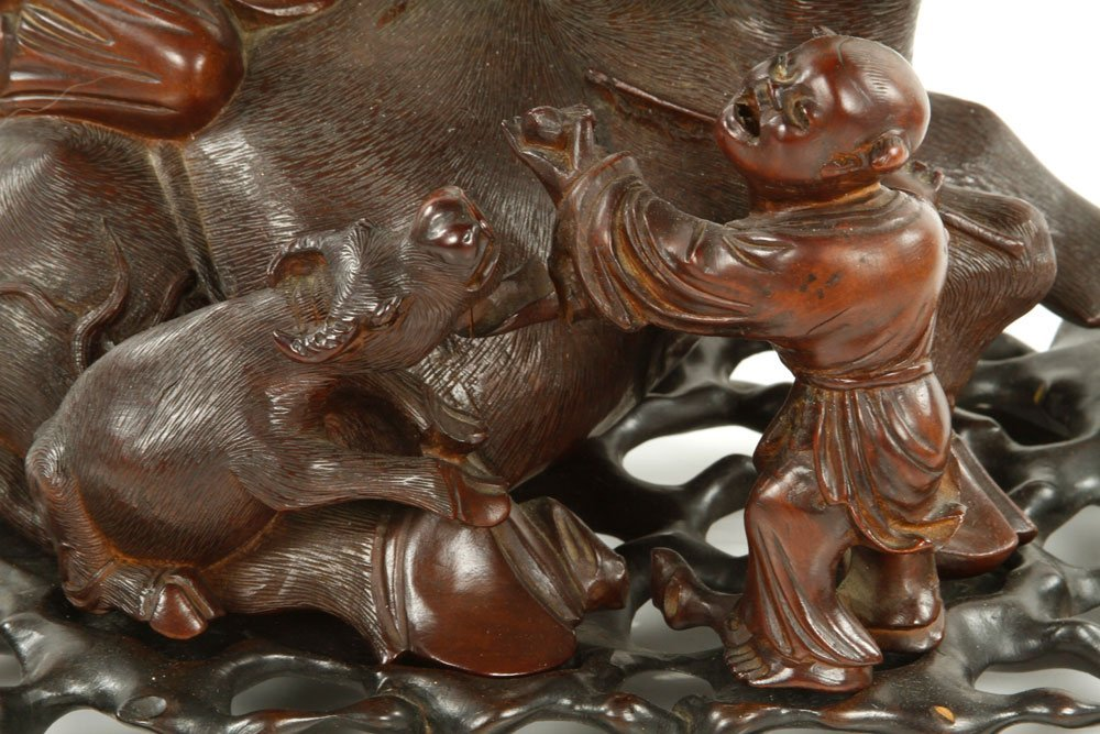 Chinese Carved Water Buffalo with Boys Figure - 3