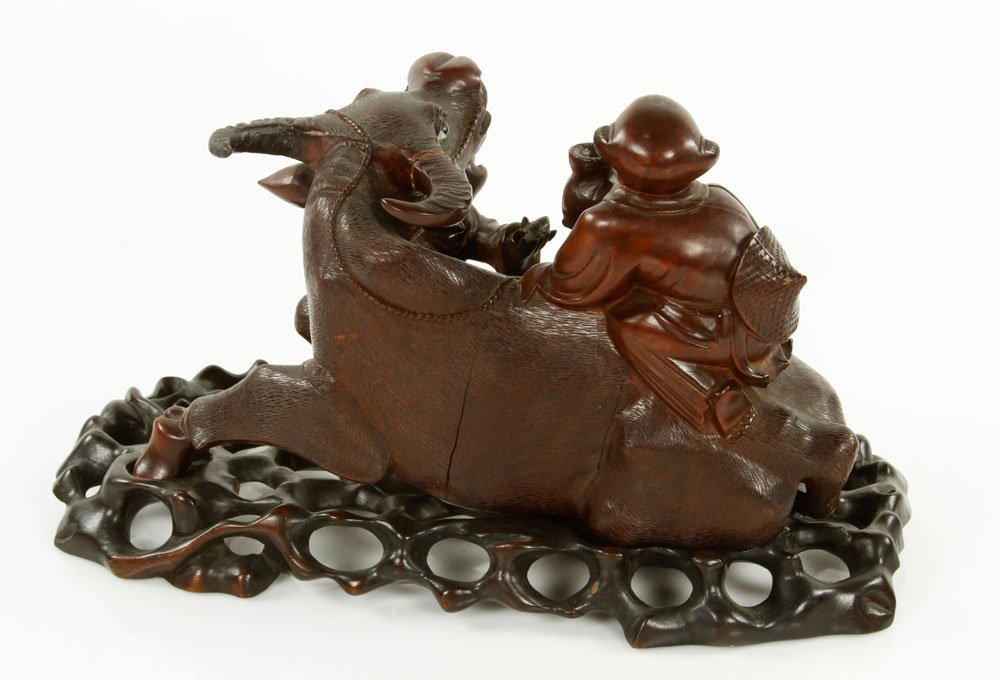 Chinese Carved Water Buffalo with Boys Figure - 4