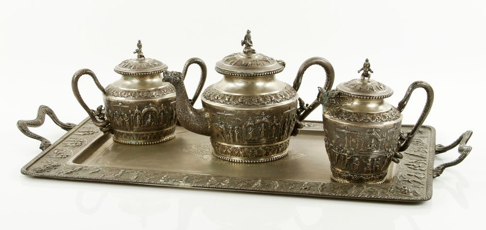 Indian 19th C. Silver Repousse Tea Set