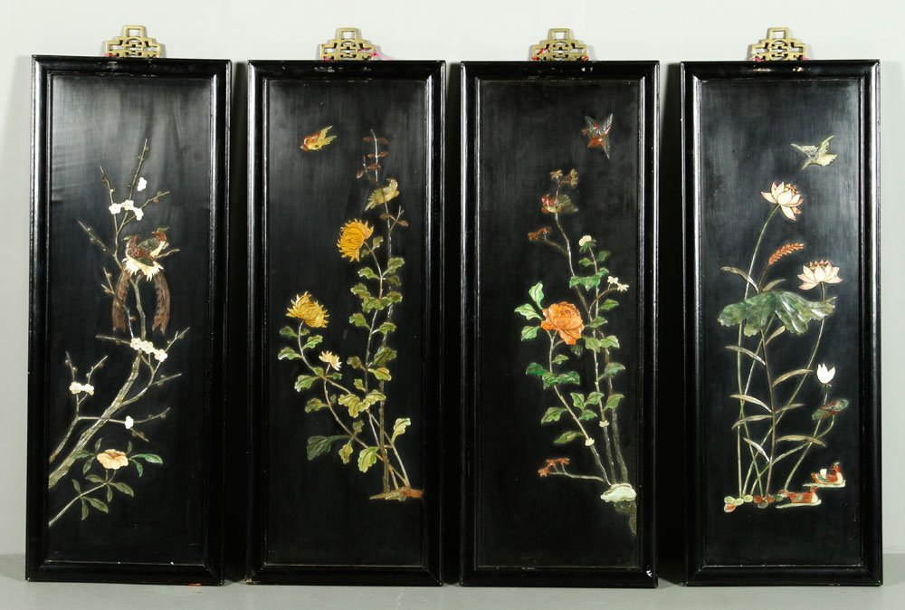 Four Chinese Black Lacquer Wall Plaques