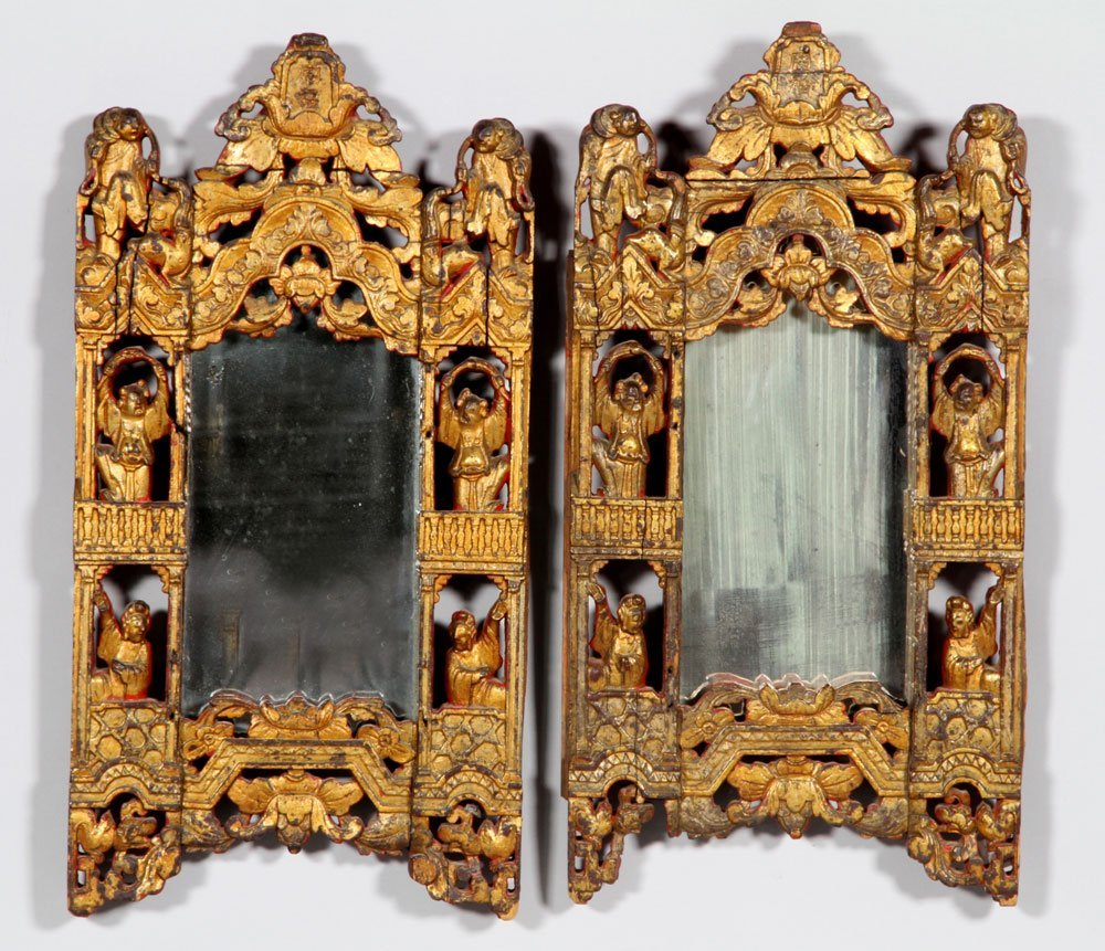 Pair of Chinese 19th C. Mirrors