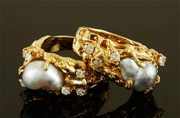 2 14K Gold Rings with Pearls