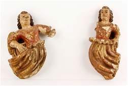 2 17th/18th C. Spanish Wood Angels