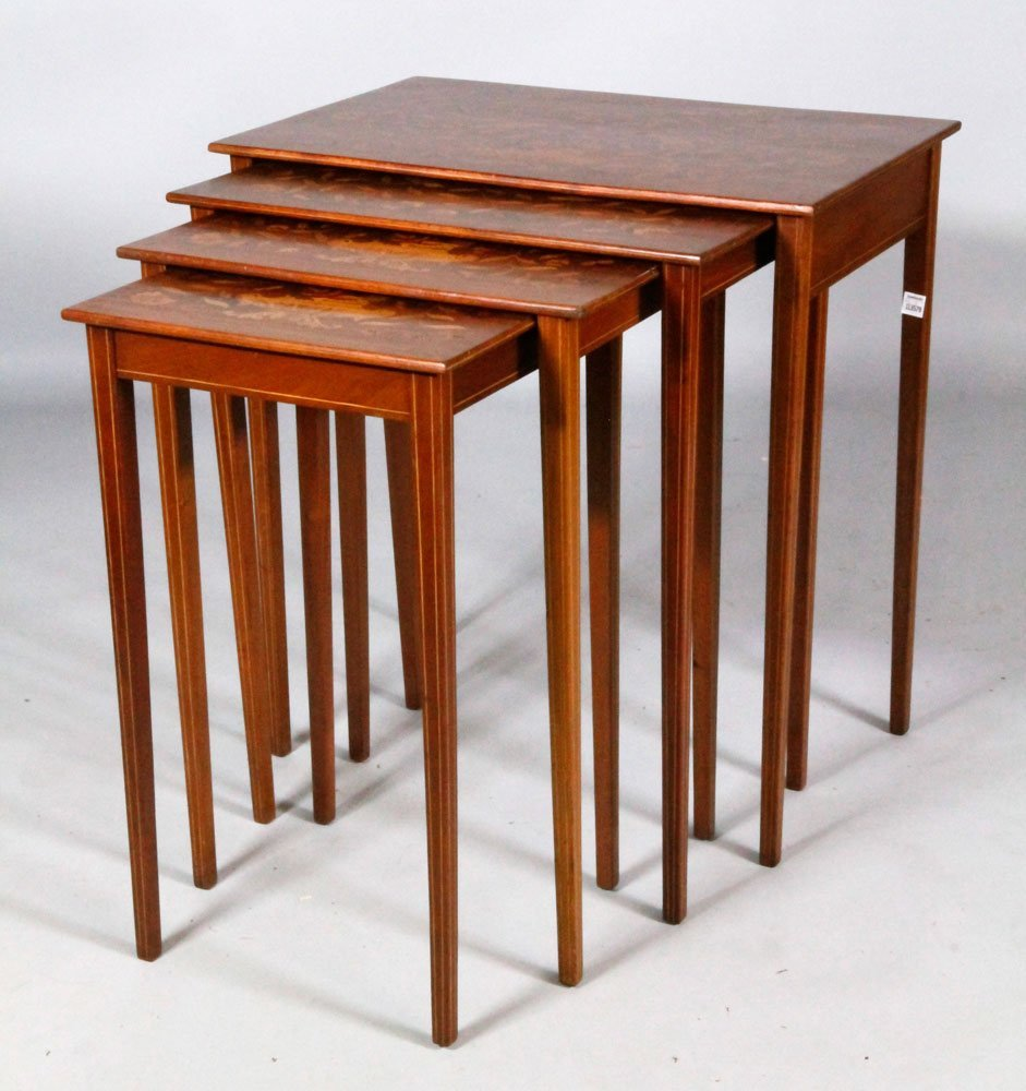 Set of 4 19th C. Marquetry Nesting Tables - 2