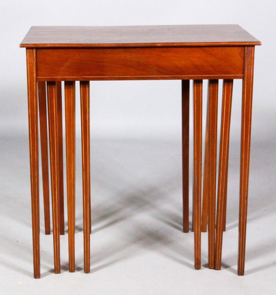 Set of 4 19th C. Marquetry Nesting Tables - 4