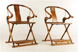 Pr. Chinese Huanghuali Wood Folding Chairs