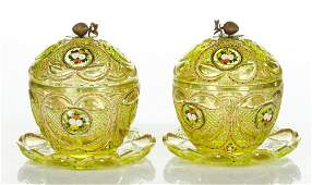 Pair of 19th C Bohemian Glass Candy Dishes