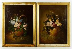 Two 19th C. Floral Still Lifes, O/C