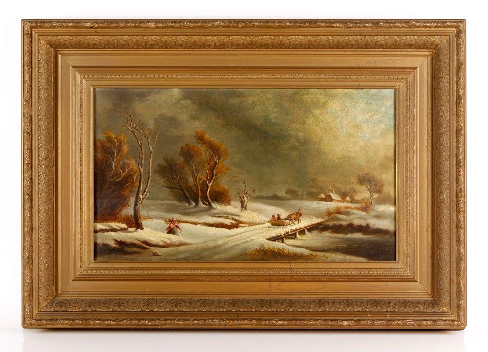 19th C. Winter Landscape, O/C