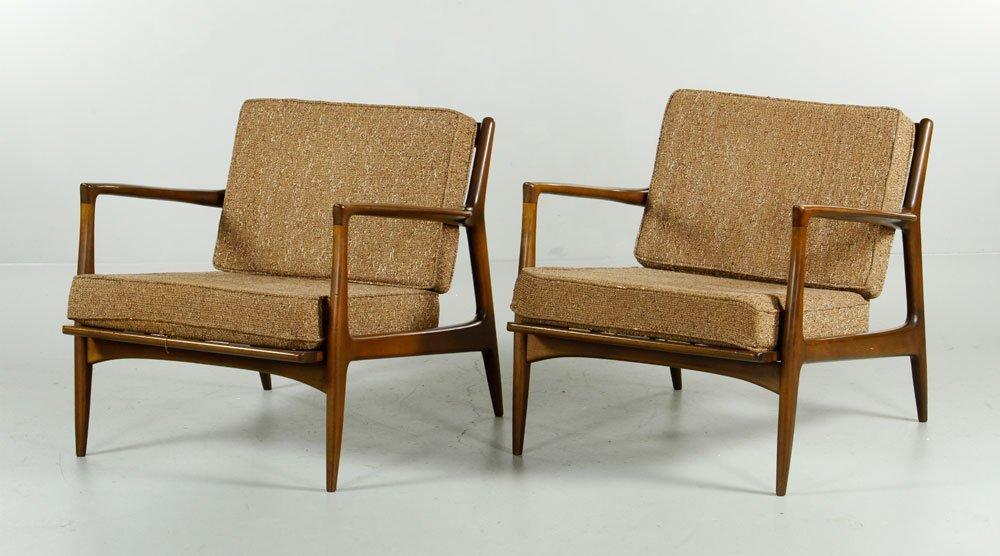 Pr Jens Risom Walnut Chairs