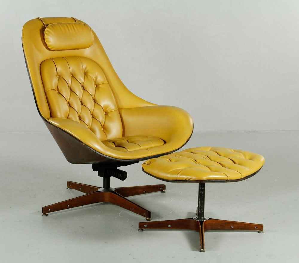 Mulhauser for Plycraft Chair and Ottoman