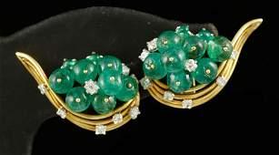 Pair of Ladies' 18K Emerald and Diamond Earrings