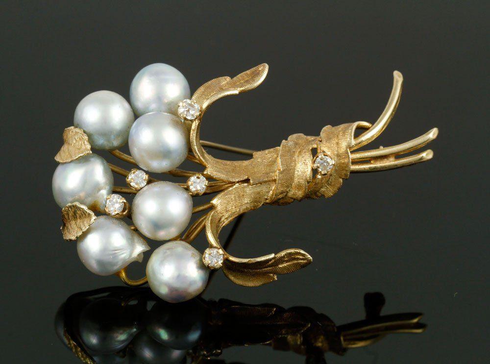 Ladies' 14K Pearl and Diamond Brooch