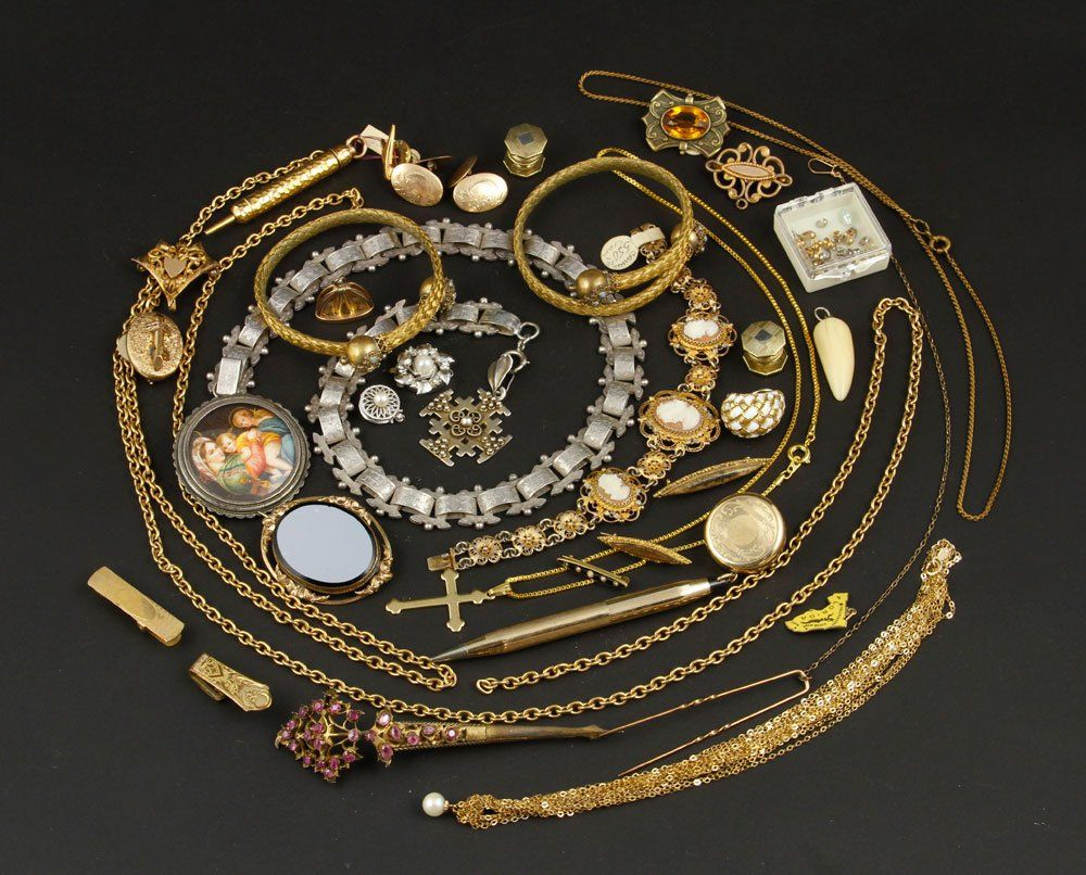 Silver Necklace and Victorian Gold Jewelry